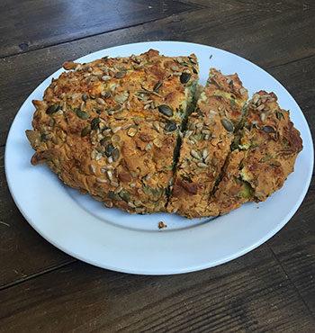 gluten free spinach feta and squash loaf
