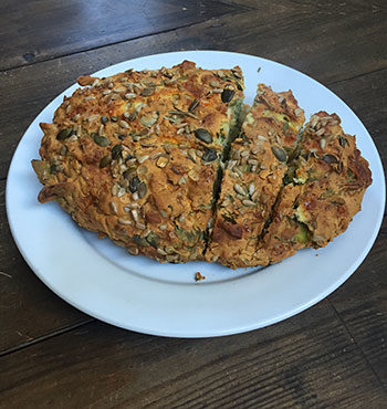gluten free spinach feta and squash loaf